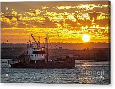 Sunset And Boat On San Diego Bay Acrylic Print by Sonny Marcyan
