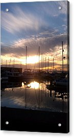 Sunset And Boats Acrylic Print by Jerry Cahill