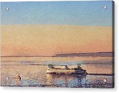 Sunset And Ferry Acrylic Print by Arthur Kuntz