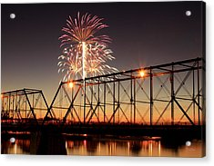 Sunset And Fireworks Acrylic Print