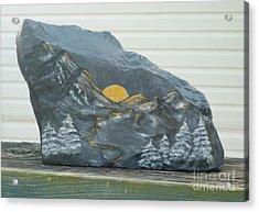 Sunset And Mountains Acrylic Print by Monika Shepherdson