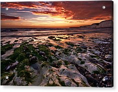 Sunset At Birling Gap Acrylic Print by Mark Leader