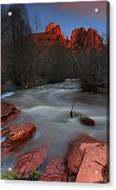 Sunset At Cathedral Rock Acrylic Print by Dave Sribnik