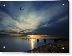 Acrylic Print featuring the photograph Sunset At Hong Kong Airport China by Afrison Ma
