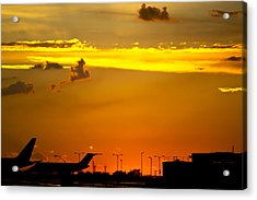 Sunset At Kci Acrylic Print by Lisa Plymell