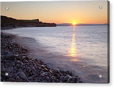 Sunset At Kilve Beach, Somerset Acrylic Print by Nick Cable