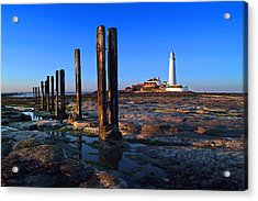 Sunset At St. Mary's Lighthouse Acrylic Print by Michael Oakes