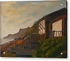 Acrylic Print featuring the painting Sunset At The Beach House by Terry Taylor