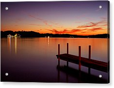 Acrylic Print featuring the photograph Sunset At The Dock by Michelle Joseph-Long