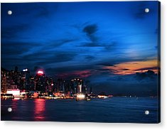 Sunset At Victoria Harbour Acrylic Print by Afrison Ma