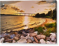 Acrylic Print featuring the photograph Sunset Bridge by Kelly Reber