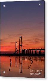 Sunset By The Bridge Acrylic Print by Jorgen Norgaard