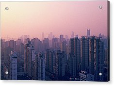 Sunset City Pink Acrylic Print by Min Wei Photography
