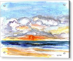 Acrylic Print featuring the painting Sunset Clouds by Clara Sue Beym