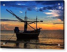 Sunset Fisherman Boat Huahin Thailand Acrylic Print by Arthit Somsakul
