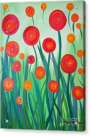 Acrylic Print featuring the painting Sunset Flowers by Stacey Zimmerman