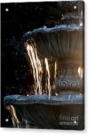 Sunset Fontain Of Gold Acrylic Print by Valia Bradshaw