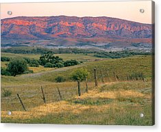 Sunset Glow On Flinders Ranges In Moralana Drive, South Australia Acrylic Print by Peter Walton Photography