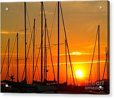 Sunset In A Harbour Digital Photo Painting Acrylic Print