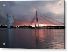 Sunset In Riga Acrylic Print by Claudia Fernandes