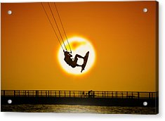 Sunset Kite Boarder Acrylic Print by Moments In 3 X 4