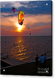 Sunset Kiteboarding On The Pamlico Sound Acrylic Print by Anne Kitzman