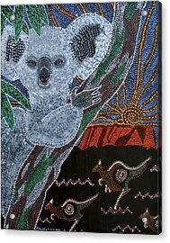 Sunset Koala And Kangaroo Acrylic Print