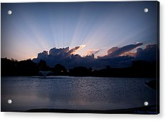 Sunset Light Rays Over The Pond Acrylic Print by Aaron Burrows