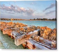 Sunset Longboat Pass Bridge  Acrylic Print by Jenny Ellen Photography