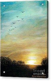 Sunset Acrylic Print by Muna Abdurrahman