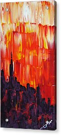 Sunset Of Melting Waterfall Behind Chicago Skyline Or Storm Reflecting Architecture And Buildings Acrylic Print