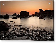 Sunset On A Rock Acrylic Print by Keith Kapple