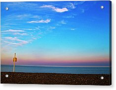Sunset On Empty Beach With Lifebouy On Post Acrylic Print by Image by Catherine MacBride