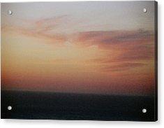 Sunset On Horizon Horizontal At Big Sur Acrylic Print by Christina Weber