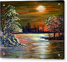 Acrylic Print featuring the painting Sunset On Lake Windsor by Fram Cama