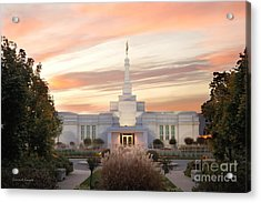 Sunset On Lds Montreal Temple Acrylic Print