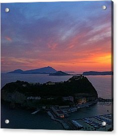 Sunset On Nisida Miseno And Ischia Acrylic Print