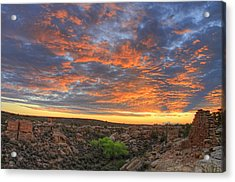 Sunset On Puebloan Ruins In Hovenweep Acrylic Print by Matt Champlin