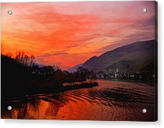 Sunset On Rhine Acrylic Print by Rick Bragan