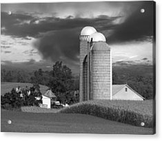 Sunset On The Farm Bw Acrylic Print