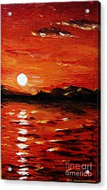 Sunset On The Sea Acrylic Print by Muna Abdurrahman