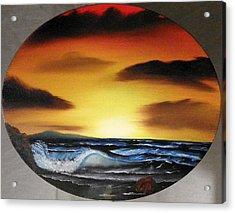 Sunset On The Seashore Acrylic Print by Amity Traylor