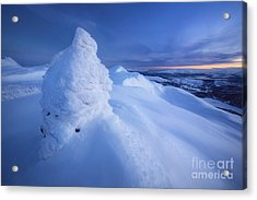 Sunset On The Summit Toviktinden Acrylic Print by Arild Heitmann