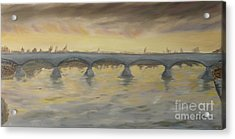 Sunset On The Ticino - Homage To Turner Acrylic Print by Nicla Rossini