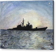 Sunset On The Uss Anzio Acrylic Print by Sarah Howland-Ludwig