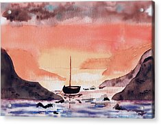 Acrylic Print featuring the painting Sunset On The Water by Paula Ayers