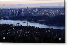 Sunset On Vancouver City Acrylic Print by Pierre Leclerc Photography
