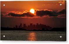 Sunset Over Boston Acrylic Print by Joanne Brown