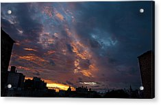 Sunset Over Brooklyn Post Irene Acrylic Print by Julie VanDore