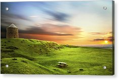 Sunset Over Burton Dassett Acrylic Print